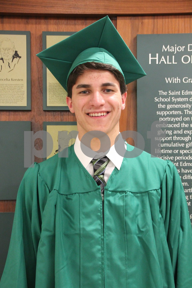 Seen is: Nick Lenane, a graduate, of Saint Edmond High School which held commencement on Sunday, May 22, 2016 at the Saint Edmond High School in Fort Dodge.