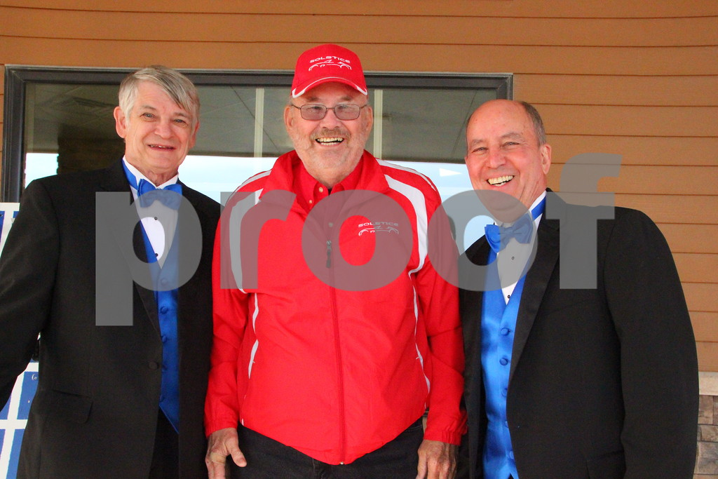 Saturday, May 7, 2016, the Friends of Saint Edmonds Ball took place at the Starlite Village in Fort Dodge. Pictured  here (left to right) is: Steve Hulsebus, Terry Parker, Bruce Siben who helped open doors and provided  the valet service to attendees.