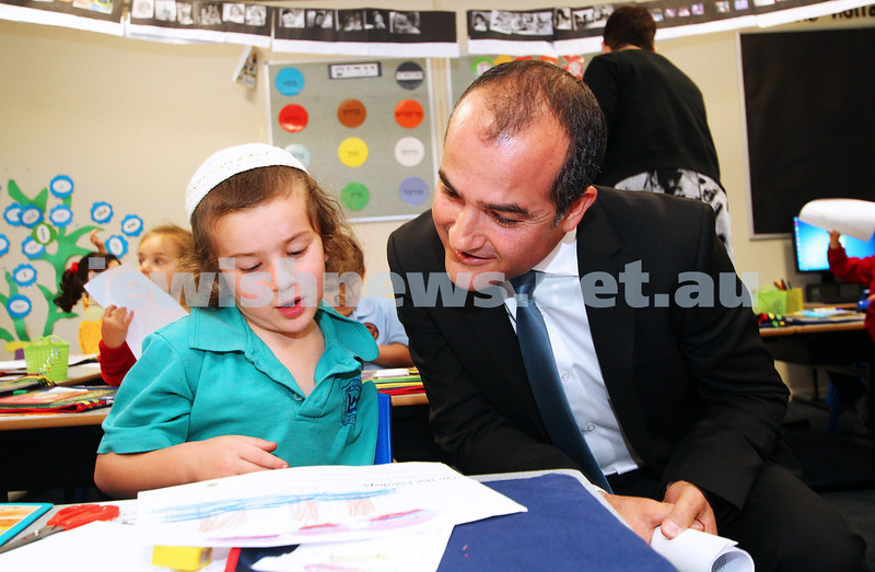 29-4-14. Victorian Shadow Minister for Education, James Merlino with Sholem Aleichem College student Leib Sharp.  Photo: Peter Haskin
