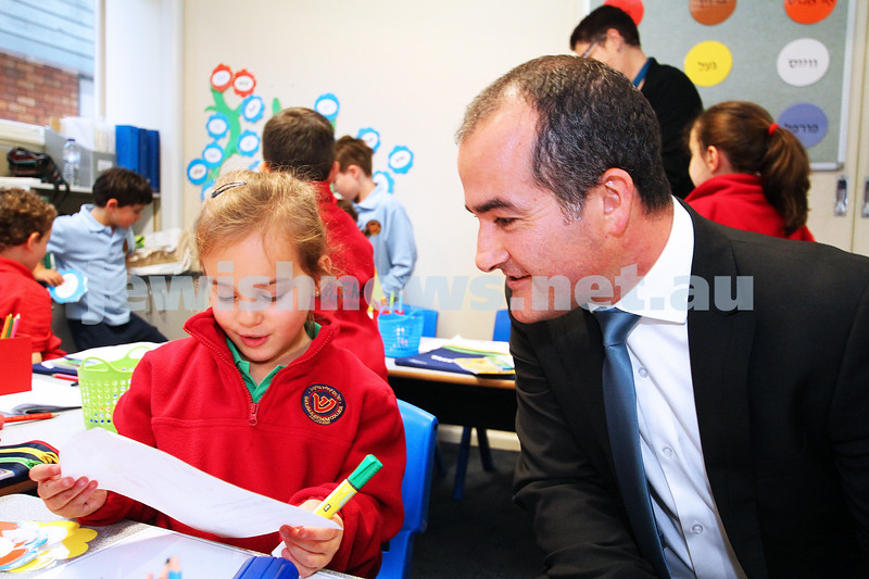 29-4-14. Victorian Shadow Minister for Education, James Merlino with Sholem Aleichem College student Emily Umansky. Photo: Peter Haskin
