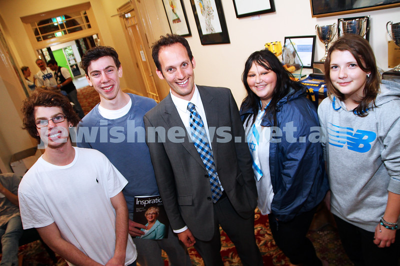 6-5-14. New principal of The King Davis School. Marc Light with students. From left:  Ryan Reichenberg, Adam Paykel-Samuel, Jess Vaksman, Nastya Alouker. Photo: Peter Haskin