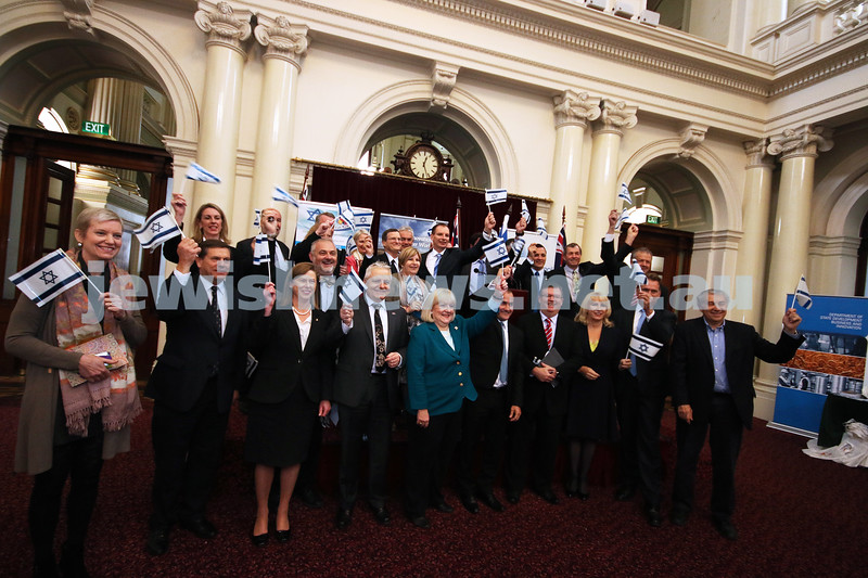 6-5-14. Israel exhibition at Vic Parliament House. Celebrating Yom Ha atzmaut in Queens Hall. State ministers and also Israeli Ambassador Shmuel Ben Shmuel. Photo: Lochlan Tangas.