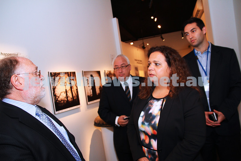 20-5-14. Michelle Roland, Federal shadow minister for Multi culturalism and citizenship.  Touring the Jewish Holocaust Centre in Melbourne. Executive Director Warren Fineberg (left) taking Roland on a tour along with Michael Danby and Josh Burns. Photo: Peter Haskin