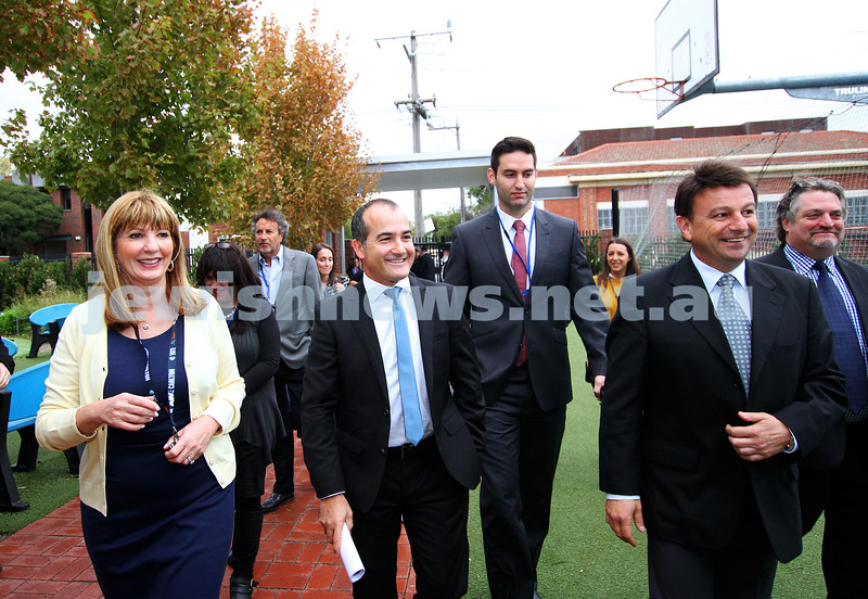 29-4-14. Victorian Shadow Minister for Education, James Merlino (left) arrives at Shlom Aleichem College. Photo: Peter Haskin