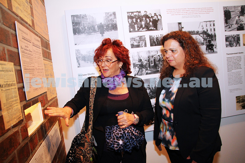 20-5-14. Michelle Roland, Federal shadow minister for Multi culturalism and citizenship.  Touring the Jewish Holocaust Centre in Melbourne. Centre President Pauline Rockman explaining one of the exhibits to Roland . Photo: Peter Haskin