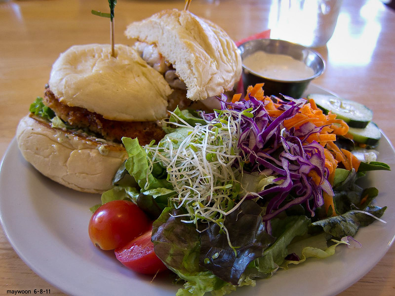 Our Crab and Salmon burger at Wildflower-Talkeetna-former George Bush Senior's chef. 6-8-11