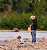 Dylan and the little girl into their own world at Talkeetna river 6-9-11