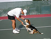 Tennis player with his dog at Westlake 12-10-03