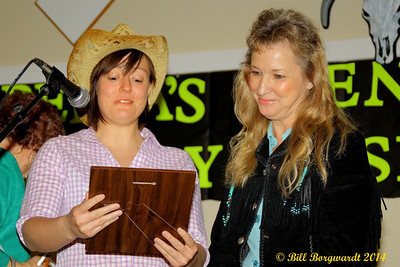 Reinisa from Big West Country radio, Drayton Valley, presents the Lifetime Achievement award to Mary Resek  - Alberta's Men & Women of Country Music 2014