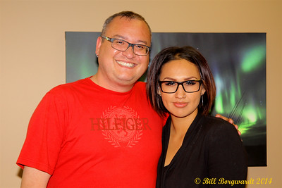 Wally Desjarlais, morning show co-host and musical director, and Arlysse Wuttunee, noon host - CFWE New Studio