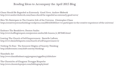 Above is the reading list for my April blog.  Please feel free to email me with comments or additions or questions.  sumkoviphotography@gmail.com