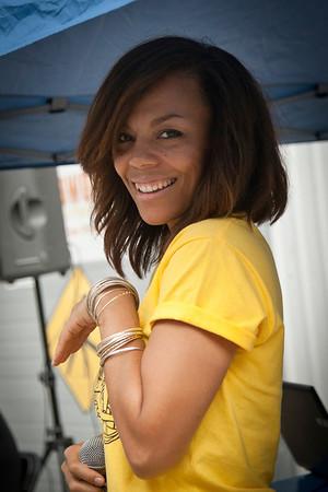 Melina Jones, Mistress of Ceremonies, Emcee during the 2013 SFCB Roadworks Street Fair on September 29, 2013.