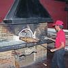 Preparing the pizza