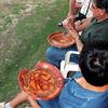 Examining the pottery