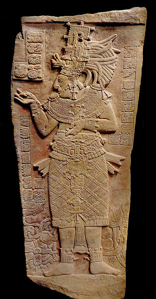 "<font size=""2""><font face=""arial"">THE ART OF THE MAYA SCRIBE, Coe & Kerr, 1997  Late Classic Stela of ok-Ain (Alligator Foot') from the yet-to-be-located city of Yomop, attired in the costume of the young maize god."
