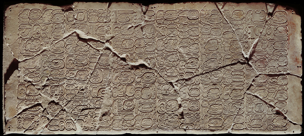 "The Tablet of the 96 Hieroglyphs. Late Classic calligraphic glyphs incised on smooth limestone at Palenque One of the latest inscriptions found at the site. <font size=""1""><font face=""garamond"">© Jorge Pérez de Lara <a href=""http://www.mesoweb.com/palenque/monuments/96G/96G.html"" target=""_blank"">Mesoweb: Tablet of 96 Glyphs</a>"