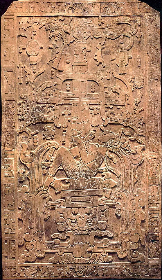 """Pacal the Great, <a href=""""http://www.mesoweb.com/palenque/monuments/TI_sarcophagus/index.html"""" target=""""_blank"""">sarcophagus lid</a> Temple of the Inscriptions. Palenque Depicts a youthful Pacal, in a fetal-like position, in a sacrificial bowl from which rises a ceiba tree (or axis tree) which functions as a bridge between worlds. He is shown being reborn in the east, as the maize god of eternal life."""