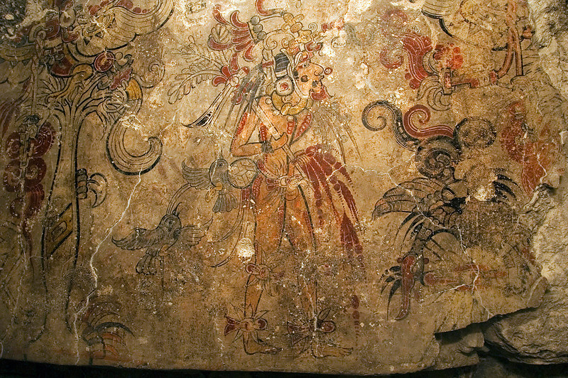 "<font size=""3""><font face=""arial"">Preclassic Maya mural at San Bartolo depicting auto-sacrifice being performed by a god Discovered for the modern world by William Saturno in 2001. Photo Kenneth Garrett for National Geographic"