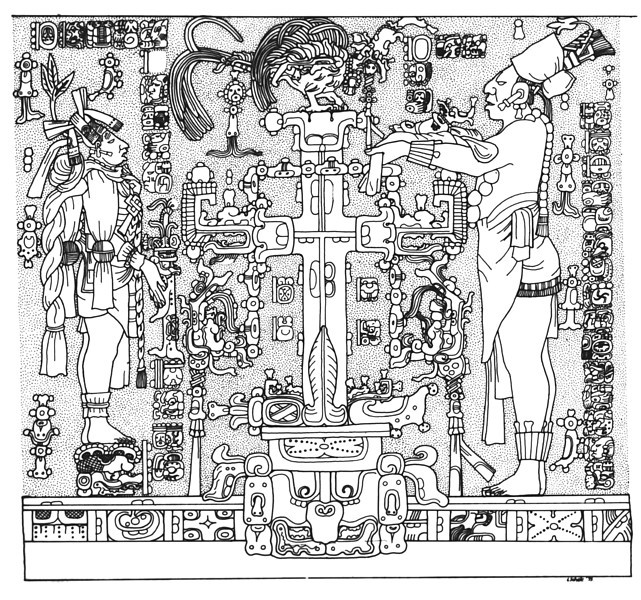 "<a href=""http://research.famsi.org/schele.html?&search=&sort=/"" target=""_blank"">Linda Schele</a> Center Panel From The Temple Of The Cross. Both Individuals Stand On A Skyband. At Right, K'inich Kan B'alam Ii, Named By The Accession Text Directly In Front Of Him, Holds A Small Quadripartite Badge. The Larger Individual, Left, Holds A K'awiil Figurine. At Center, A World Tree Rises From A Quadripartite Badge. The Celestial Bird, ""itzam-ye,"" Perches Atop The World Tree While A Double-headed Serpent Curls Through The Arms Of The Tree."