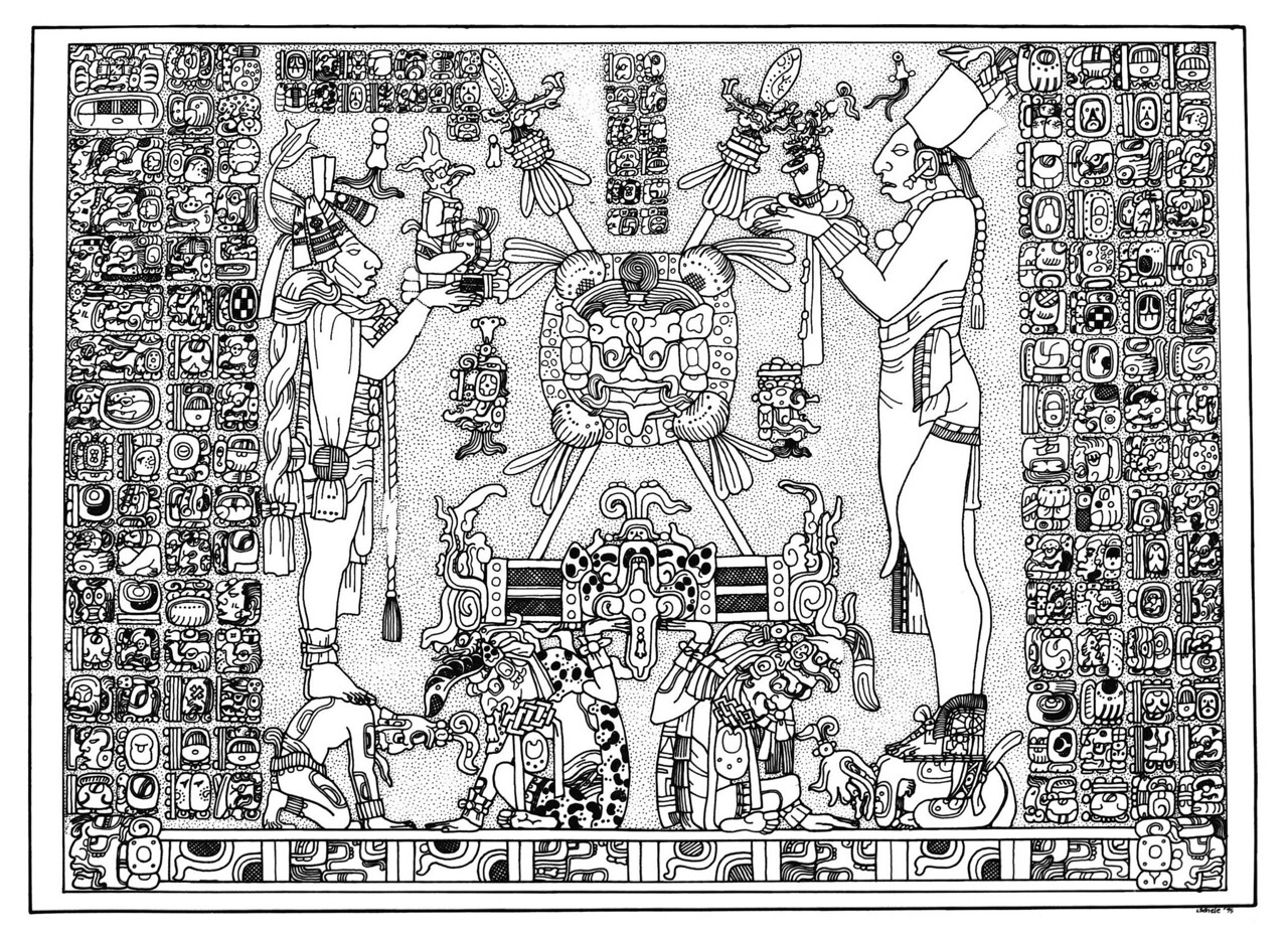 "By Linda Schele <br /> S171 Panel From The Temple Of The Sun. Both Text And Image Rest On A Double-headed Band Decorated With Earth Symbols. The Smaller Person At Left Stands On A Kneeling Figure Who Is Decorated With Marks That Identify Supernaturals. The Left-most Person Holds A Jester God/personified Flint Figurine That Rests On A Tiny Bench. The Person On The Right Side Of The Panel Stands Atop A Kneeling Supernatural Decorated With ""k'uhul"" (god) Symbols. This Larger Person Offers A K'awiil Figurine. At Center, God L (left) And An Unidentified God Hold Aloft A Large Bench Embellished With Jaguar And Serpent Motifs. Atop The Bench Are Two Crossed Lances And A Shield Decorated With The Face Of G-iii. Glyphs Recording Supernatural Locations Flank The Shield."