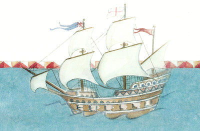 A detail from an illustration of a Mayflower-themed Family Register at New England Historic Genealogical Society.