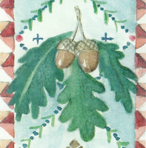 A detail from an illustration of a Mayflower-themed family register.