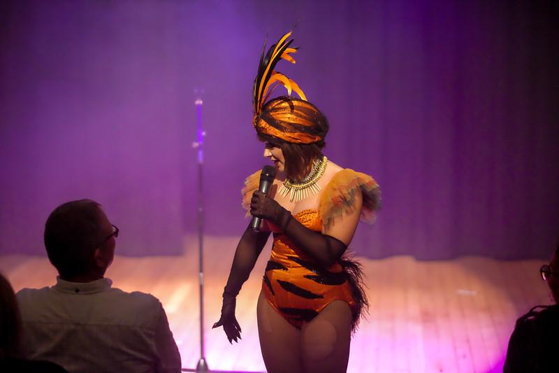 burlesque artiste velma von bonbon interacts with the audience