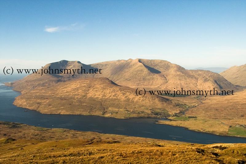 Mweelrea mountain in Connemara - Killary fjord is in the foreground.