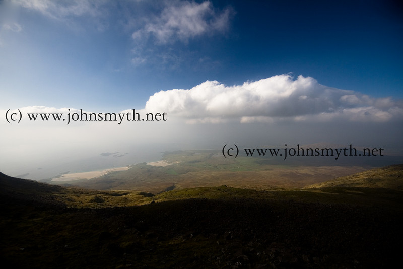 A view of the coast and the Atlantic ocean from the top of Mweelrea mountain, Co. Mayo, Ireland.
