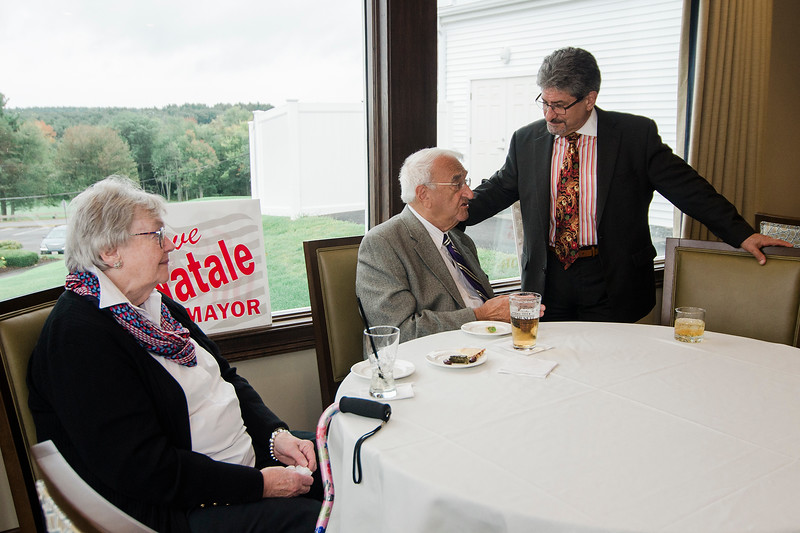 Mayor Stephen DiNatale speaks with Ellen and Ralph DiGeronimo during the fundraising event for DiNatale's campaign held at Oak Hill Country Club and sponsored by Ken Ansin and Jeff Crowley on Wednesday, September 20, 2017. SENTINEL & ENTERPRISE / Ashley Green
