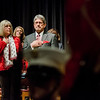 Joanne and Stephen DiNatale stand for the National Anthem during the Mayor's State of the City Address at Fitchburg High School on Wednesday, February 8, 2017. SENTINEL & ENTERPRISE / Ashley Green