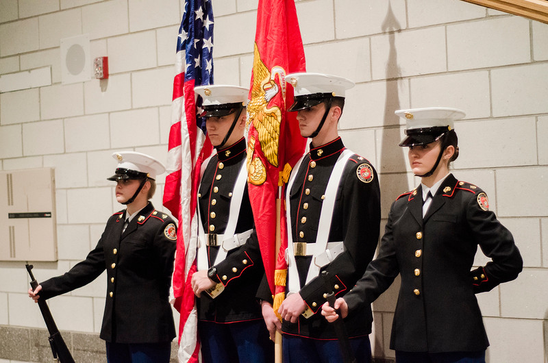 The Monty Tech Marine Corps JROTC Cadets present the colors during the Mayor's State of the City Address at Fitchburg High School on Wednesday, February 8, 2017. SENTINEL & ENTERPRISE / Ashley Green