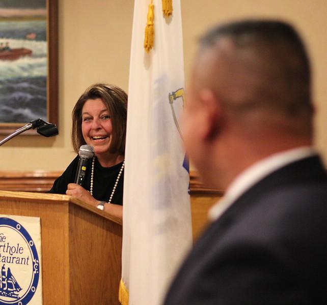 Lynn, Ma. 9-7-17. Mayor Judith Flanagan Kennedy thanking A. J. Saing at her fundraiser at the Porthole Restuarant.
