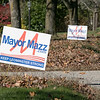 Two signs for Mayor Dean Mazzarella on West Street in Leominster on Saturday, Nov. 2, 2019. SENTINEL & ENTERPRISE/JOHN LOVE
