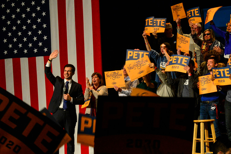KRISTOPHER RADDER — BRATTLEBORO REFORMER<br /> Democratic presidential candidate South Bend, Ind., Mayor Pete Buttigieg waves to the crowd as he wraps up his speech during a town hall at The Colonial Theatre, in Keene, N.H., on Thursday, Jan. 2, 2020.