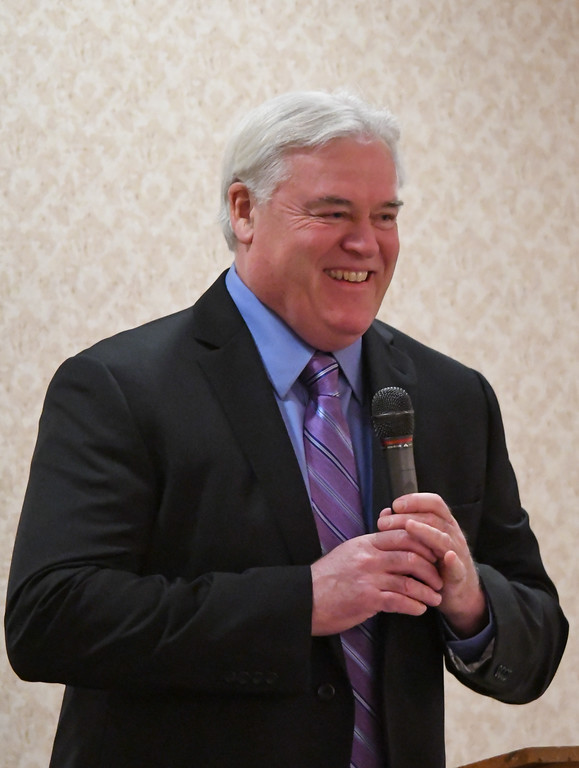 . Sheffield Lake Mayor Dennis Bring speaks to attendees during the North Coast Chamber of Commerce Mayor�s Lunch.