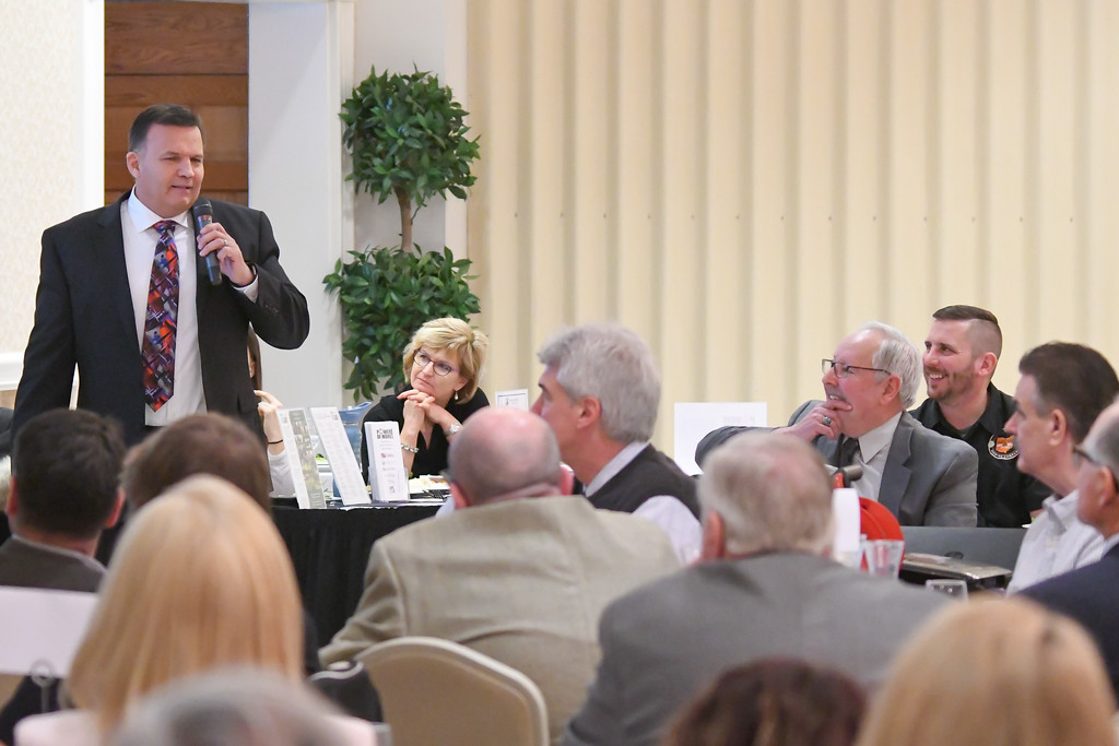 . Avon Mayor Bryan Jensen speaks to attendees during the North Coast Chamber of Commerce Mayor�s Lunch.
