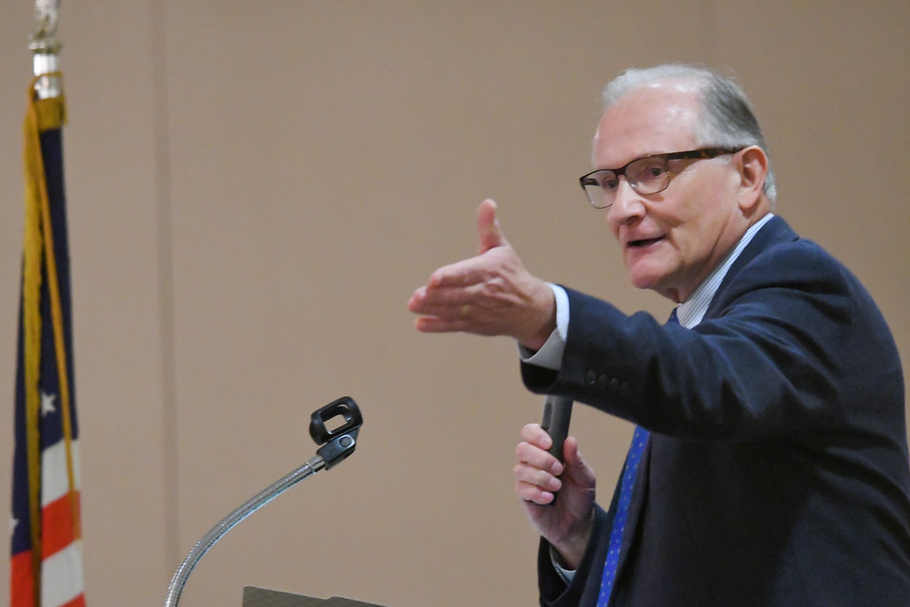 . Avon Lake Mayor Greg Zilka speaks to attendees during the North Coast Chamber of Commerce Mayor�s Lunch.