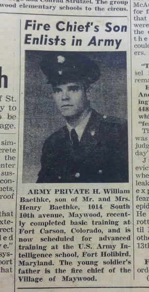 Chief Baethke son in army