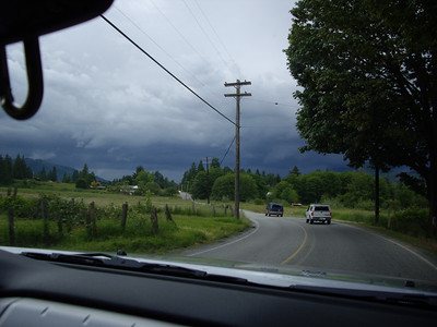Stormy weather in Darrington.  Saw lightning, then went through a fierce hail storm.