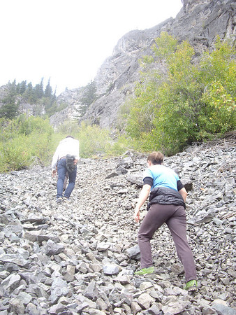Headed up the talus to the base of Prime Rib on the Goat Wall.  Laura almost stepped on a rattlesnake about 250 yards before here.