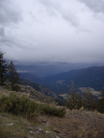 Thunderstorms up the valley towards Winthrop.