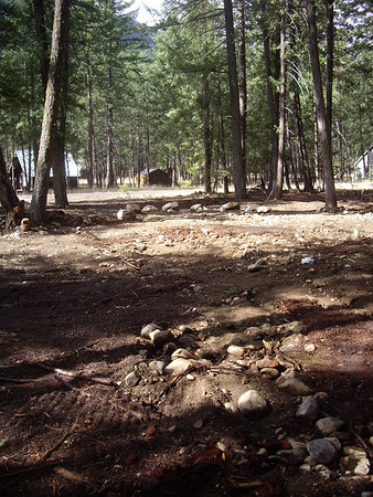 Big boulders surrounding the leach field.