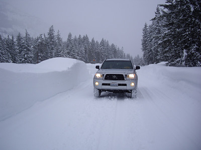 Along the airstrip in Lost RIver.  Tons of snow.