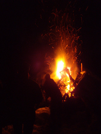 Big bonfire on the airstrip.