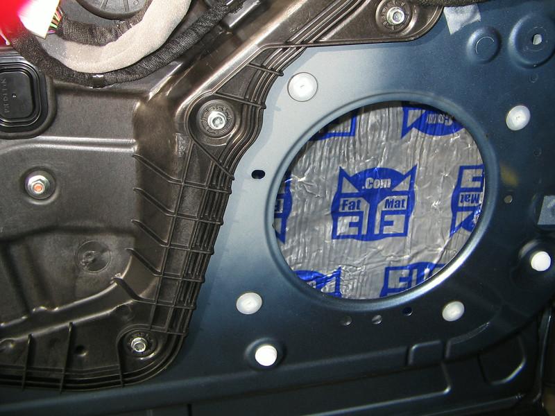 "<a href=""http://www.car-speaker-adapters.com/sounddeadener.php""> Fatmat Sound Deadener</a>   installed in door"
