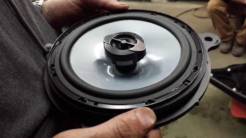 """Aftermarket speaker mounted to speaker adapter   from <a href=""""http://car-speaker-adapters.com/items.php?id=SAK112""""> Car-Speaker-Adapters.com</a>"""
