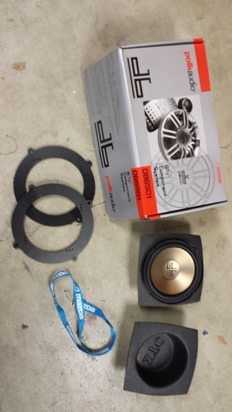 "Parts needed: <br> Left: Speaker adapter plates  from  <a href=""http://www.car-speaker-adapters.com/items.php?id=SAK049""> Car-Speaker-Adapters.com</a>  <br> Top Right: Aftermarket speakers <br> Bottom Right: XTC foam speaker baffles and aftermarket speaker"