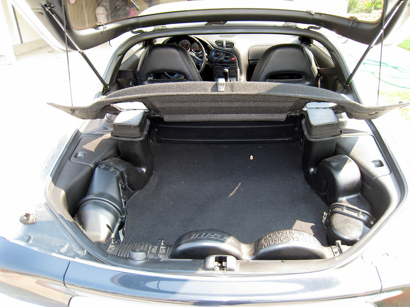 Rear view of 93 Mazda RX7 with hatch open