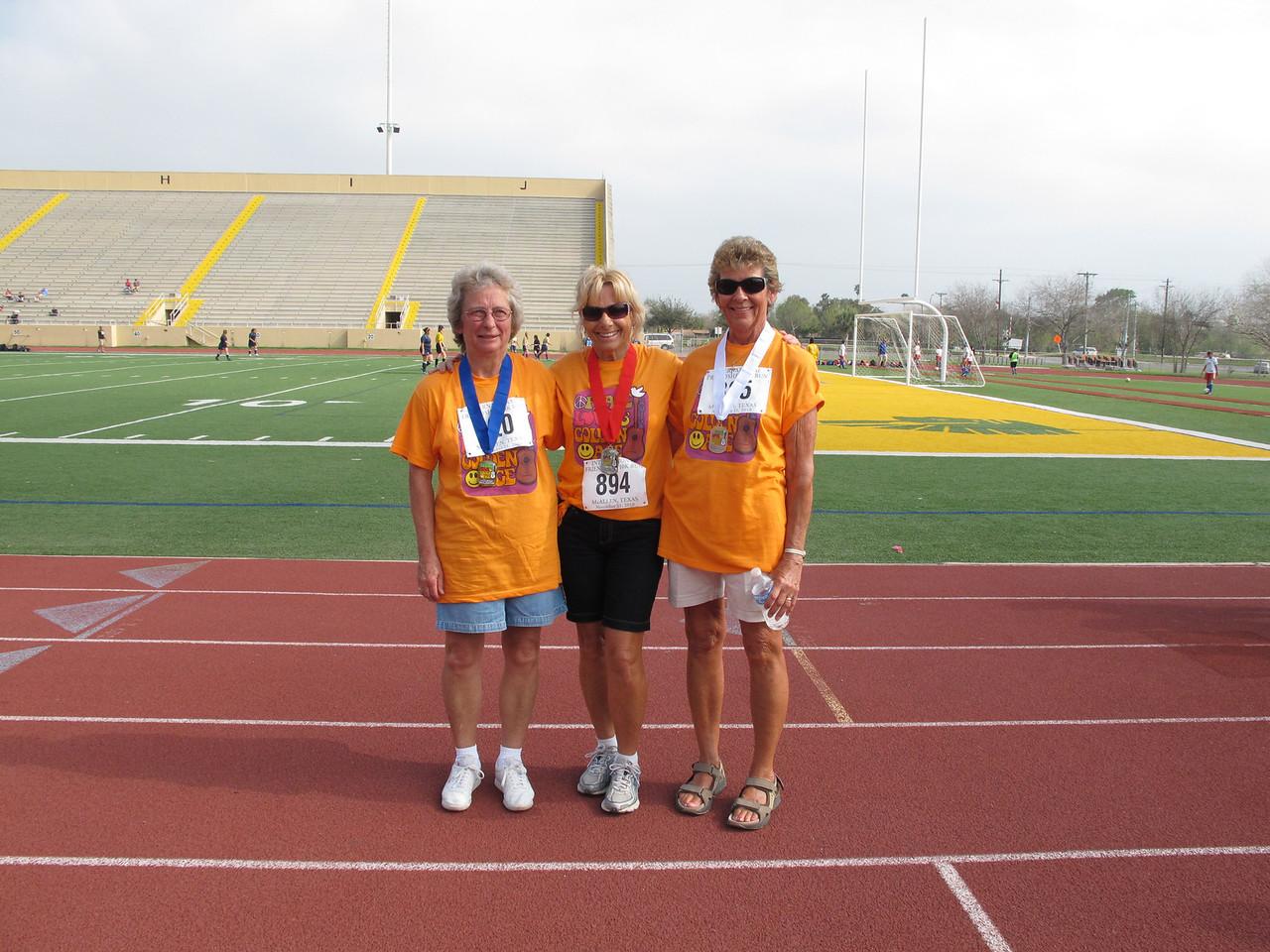 Racewalk Women 65-69 (L-R) 1st Place - Roseann Mitchell (Bit O Heaven), 2nd Place - Barbara Haug (Fiesta Village), 3rd Place - Mary Leonard (Texan Mobile)
